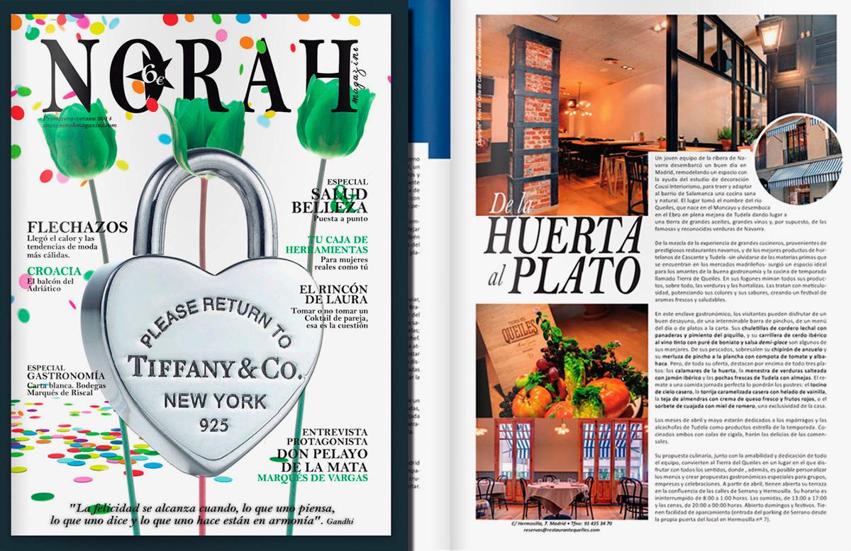Fotos publicadas en la revista Norah para el restaurante Tierra de Queiles