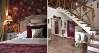 dormitorio papel pintado – granate – casa pueblo – fotografia interiorismo – fotografia decoracion – celia de coca