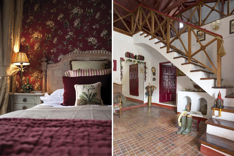 dormitorio papel pintado - granate - casa pueblo - fotografia interiorismo - fotografia decoracion - celia de coca