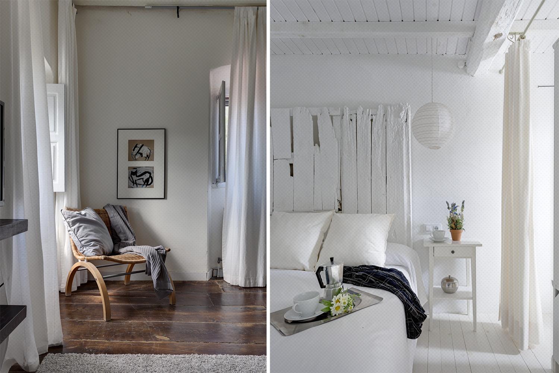 dormitorio rústico vintage blanco - suelo roble - fotografia interiorismo - fotografia decoracion - celia de coca