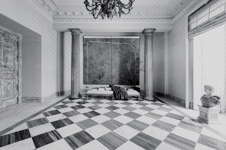 recibidor hall neoclásico - damero mármol- fotografia interiorismo - fotografia decoracion - celia de coca
